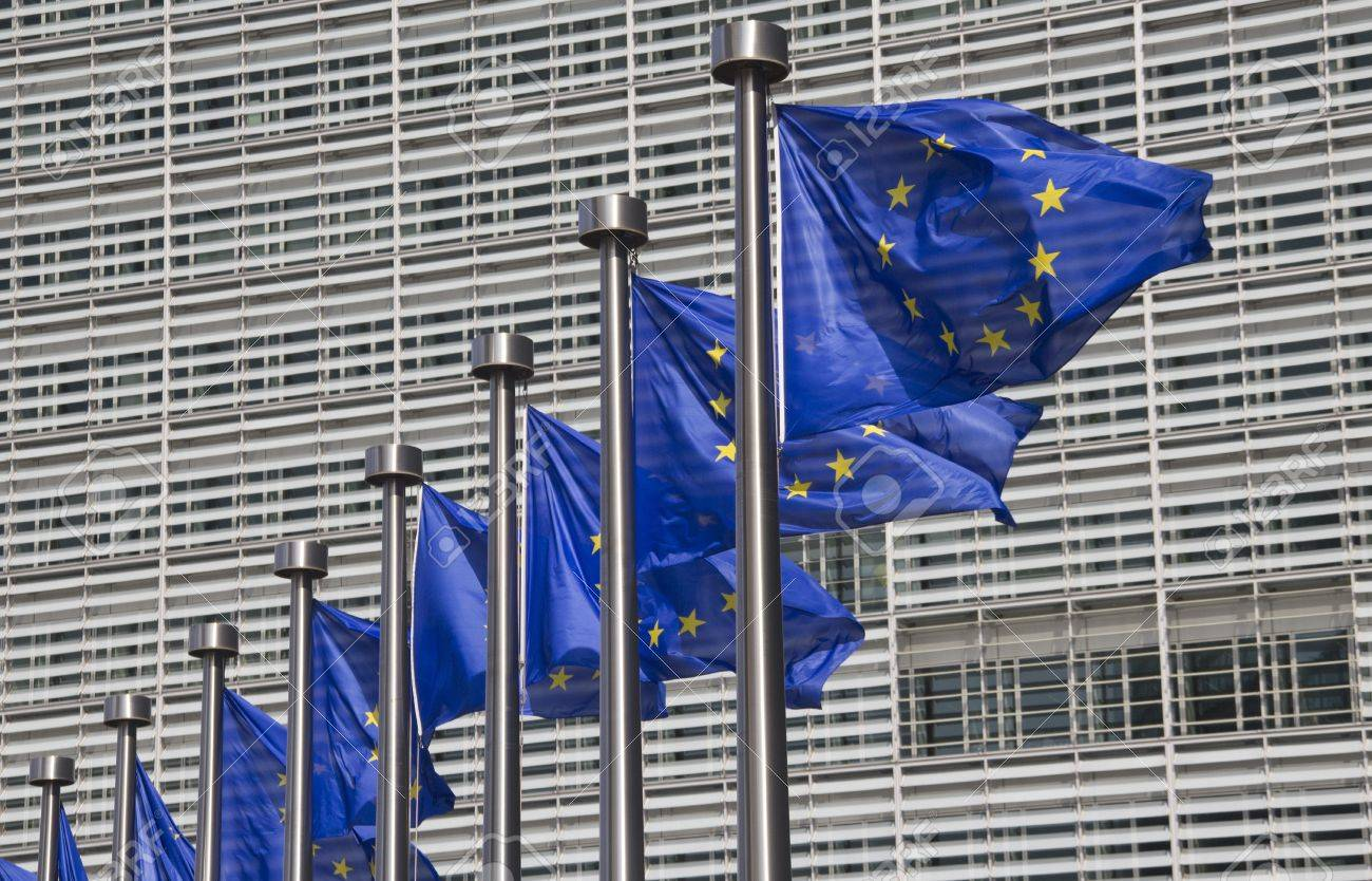 European Union flags in front of the Berlaymont building in Brussels, Belgium Stock Photo - 11430358