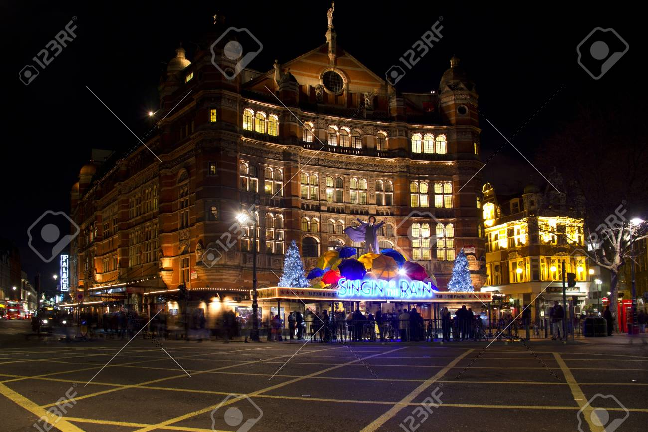 London, UK - January 1, 2013: The Palace Theater featuring the Dancing in the Rain musical during the Christmas holidays in London, UK on January 1, 2013 Stock Photo - 17765181
