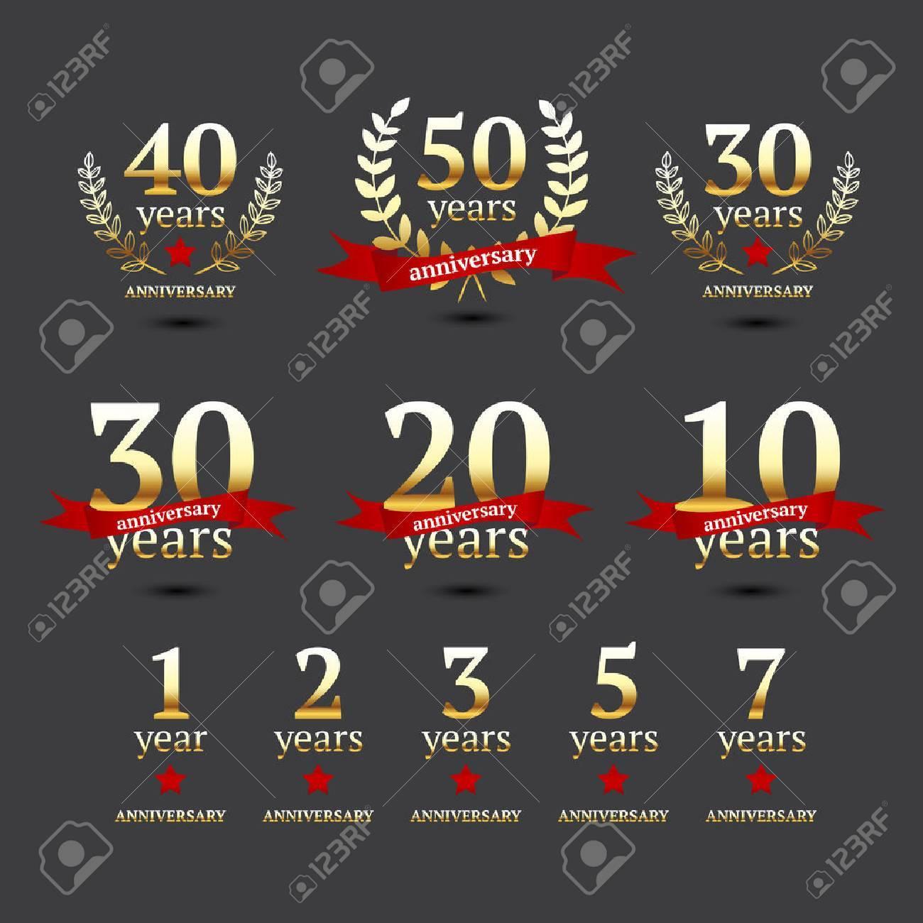 Set of anniversary golden signs, illustration - 30014190
