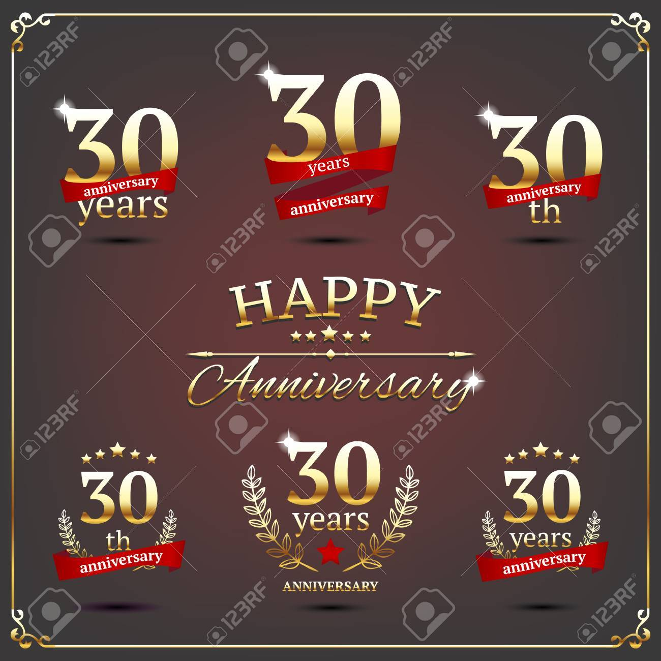 illustration with thirty years anniversary signs - 30014195