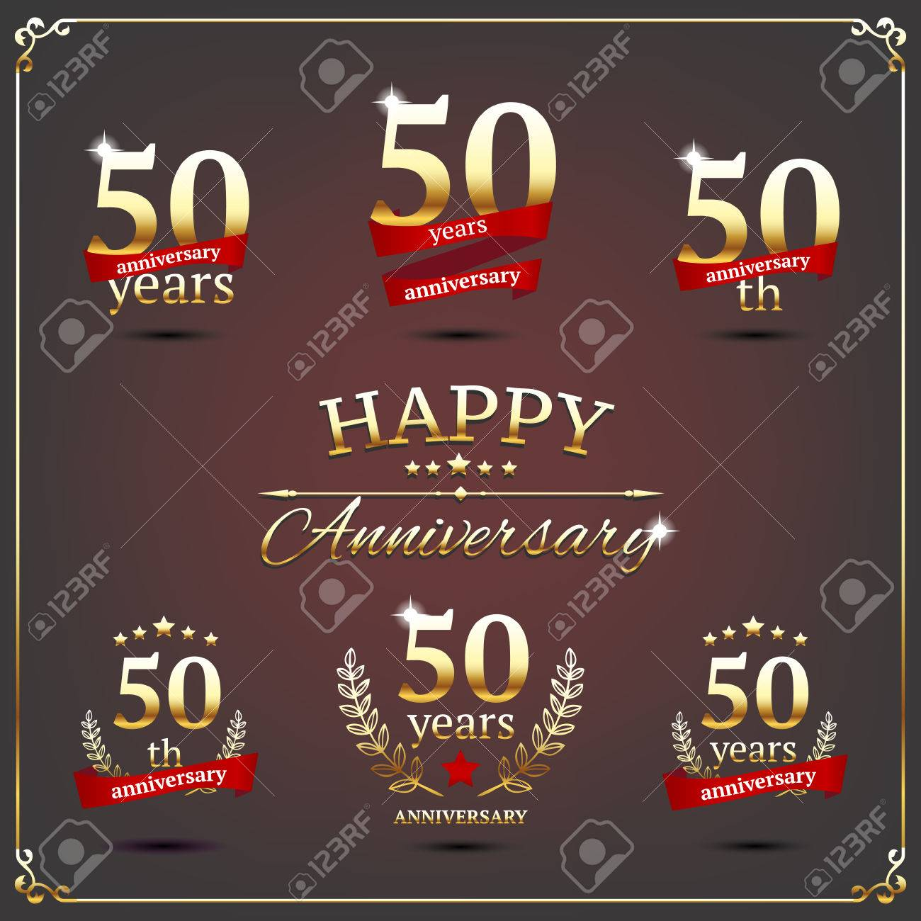 illustration with fifty years anniversary signs - 30014202