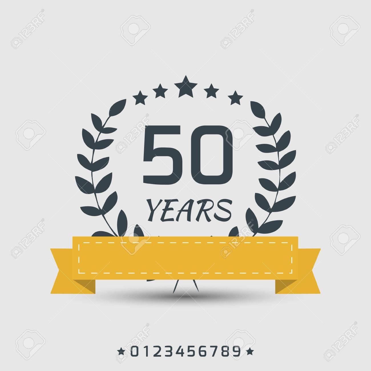 anniversary sign with yellow ribbon and satrs - 30014207