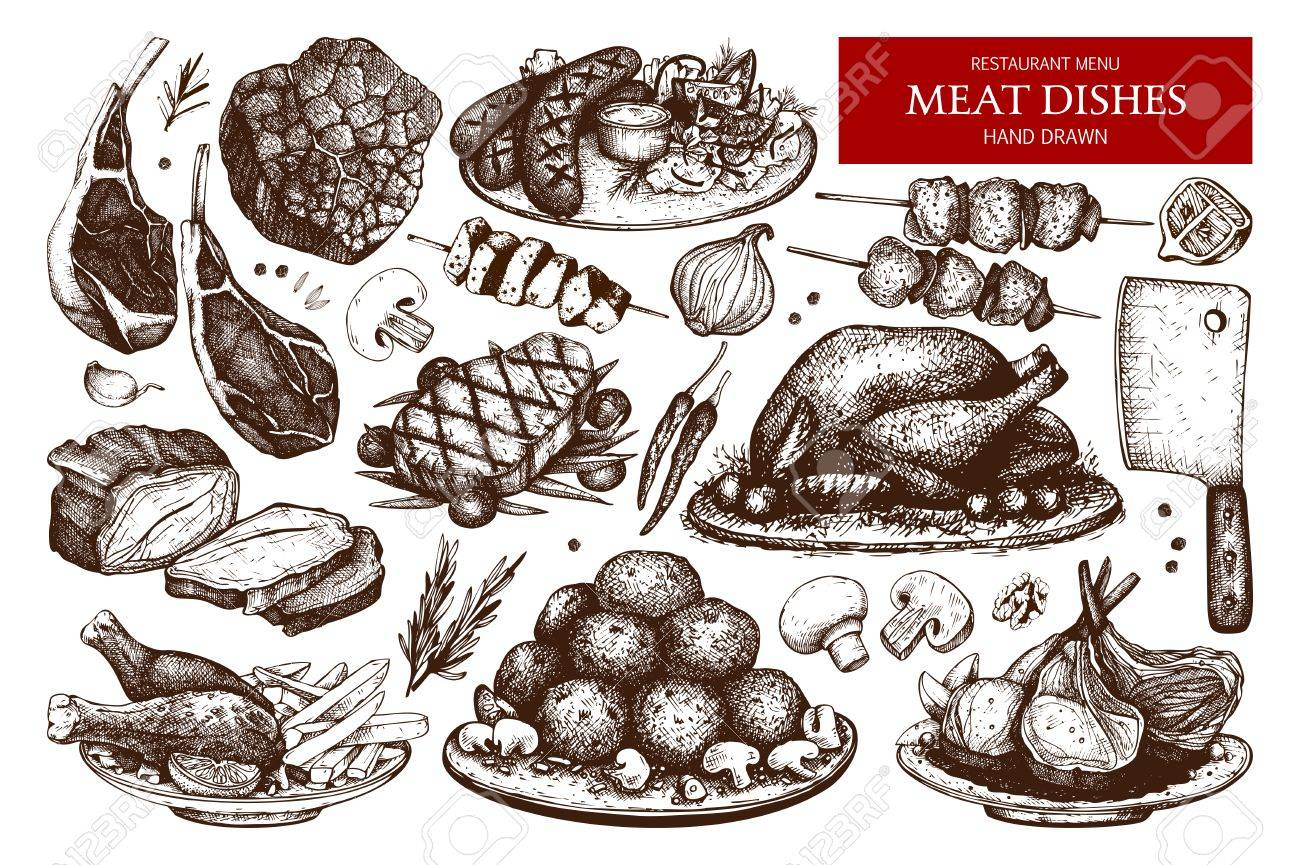 Vector collection of hand drawn meat illustration. - 73722833