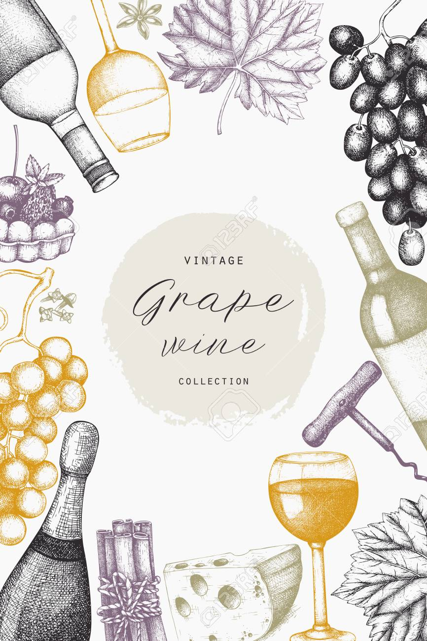 Vintage Wine Card Vector Illustration With Wine Glass Grapes