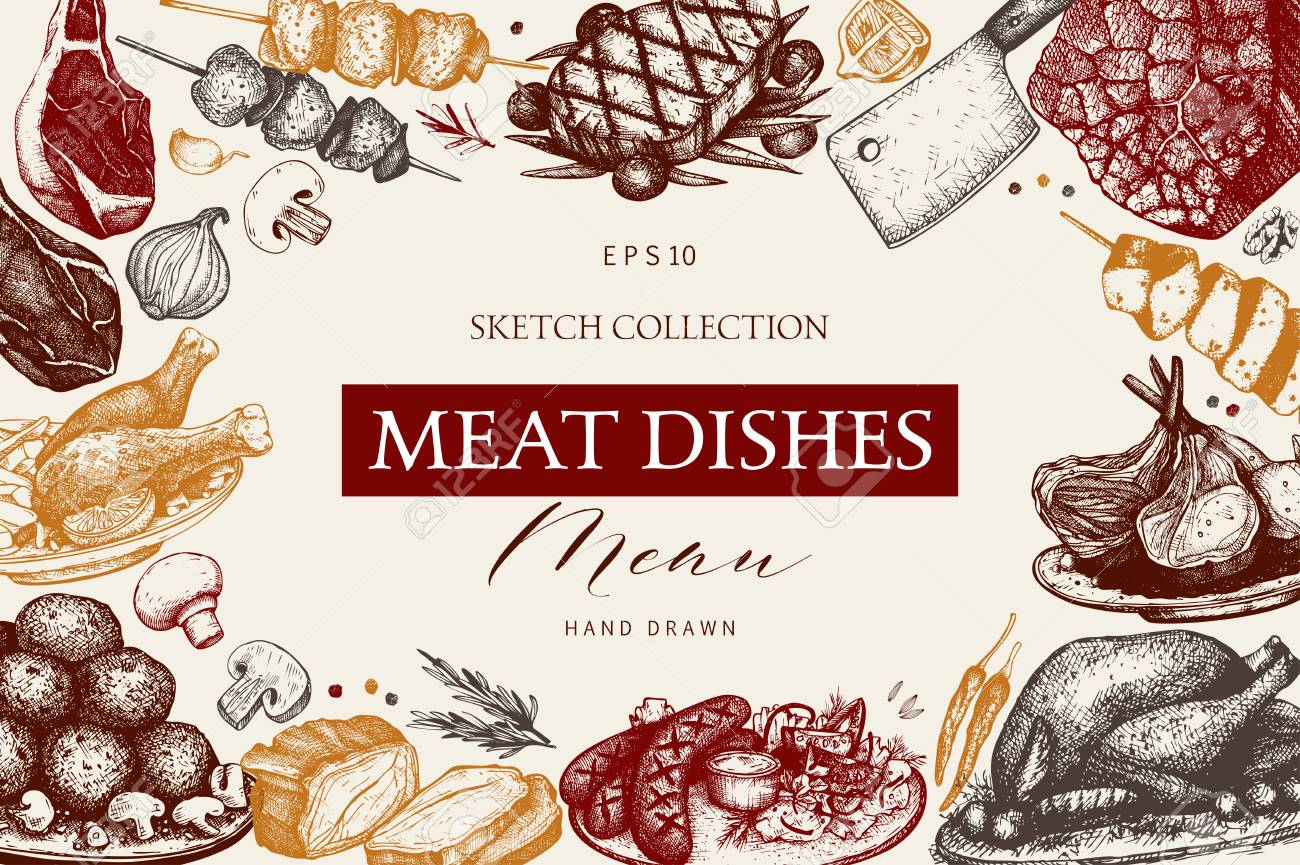Vector design with hand drawn food illustration. Restaurant menu template. Vintage frame with meat dishes sketch. - 122853442