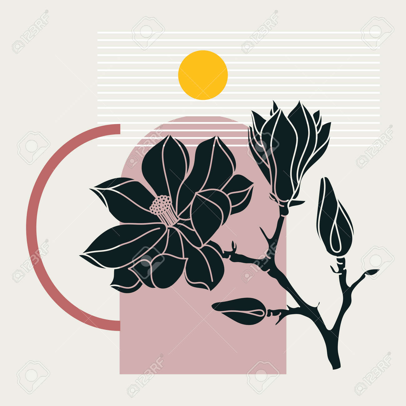 Collage style magnolia design. Trendy abstract illustration with floral and geometric elements. Can be used for prints, wall art, social media, mobile apps, banners design and web / internet ads - 170065562