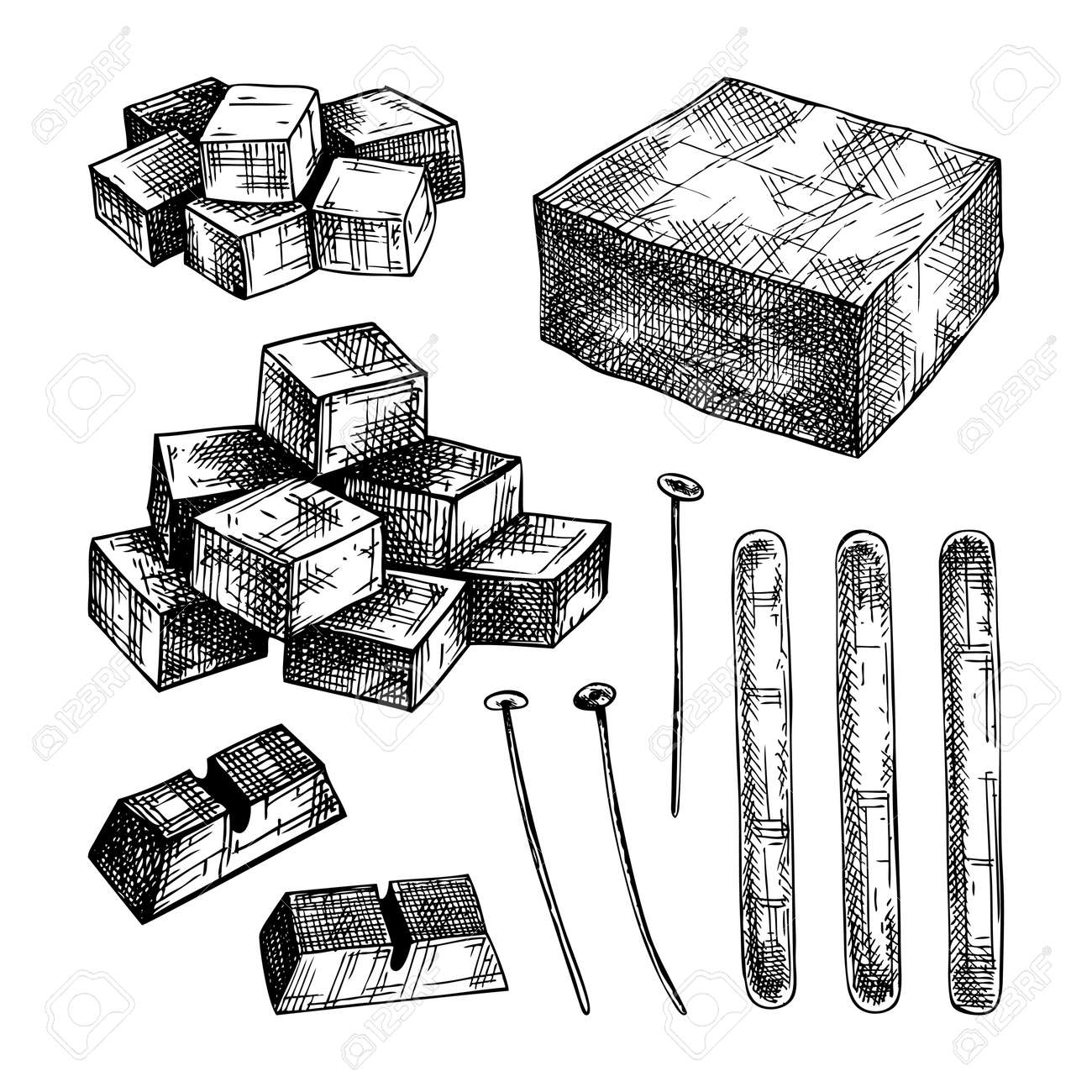 Hand-sketched aromatic candles ingredients collection. Vector illustrations of wax, paraffin, fragrance, color and skewers. For aromatherapy, hygge home or holiday decoration, meditation. - 170259571