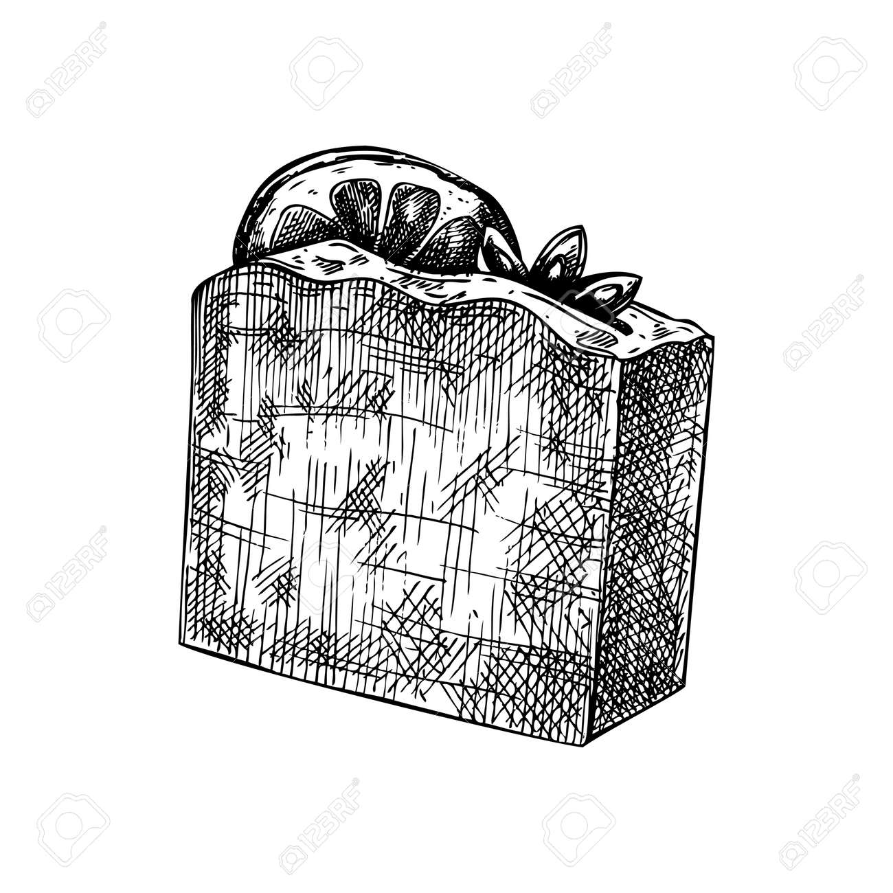 Hand-sketched aromatic soap illustration. Vector drawing of hand drawn soap bar with spice and citrus fruits. For a beauty salon identity, bathroom or spa. - 170065921