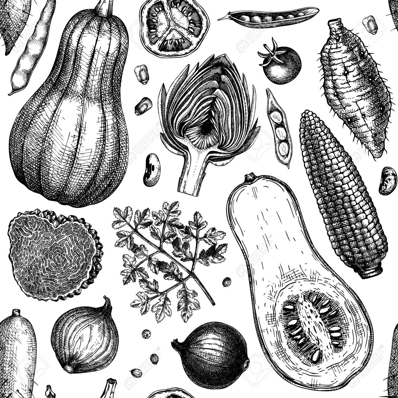 Hand-sketched vegetables, mushrooms, herbs seamless pattern. Healthy food ingredients background. Perfect for wrapping paper, fabrics, wed banners, branding, ads. - 170259580