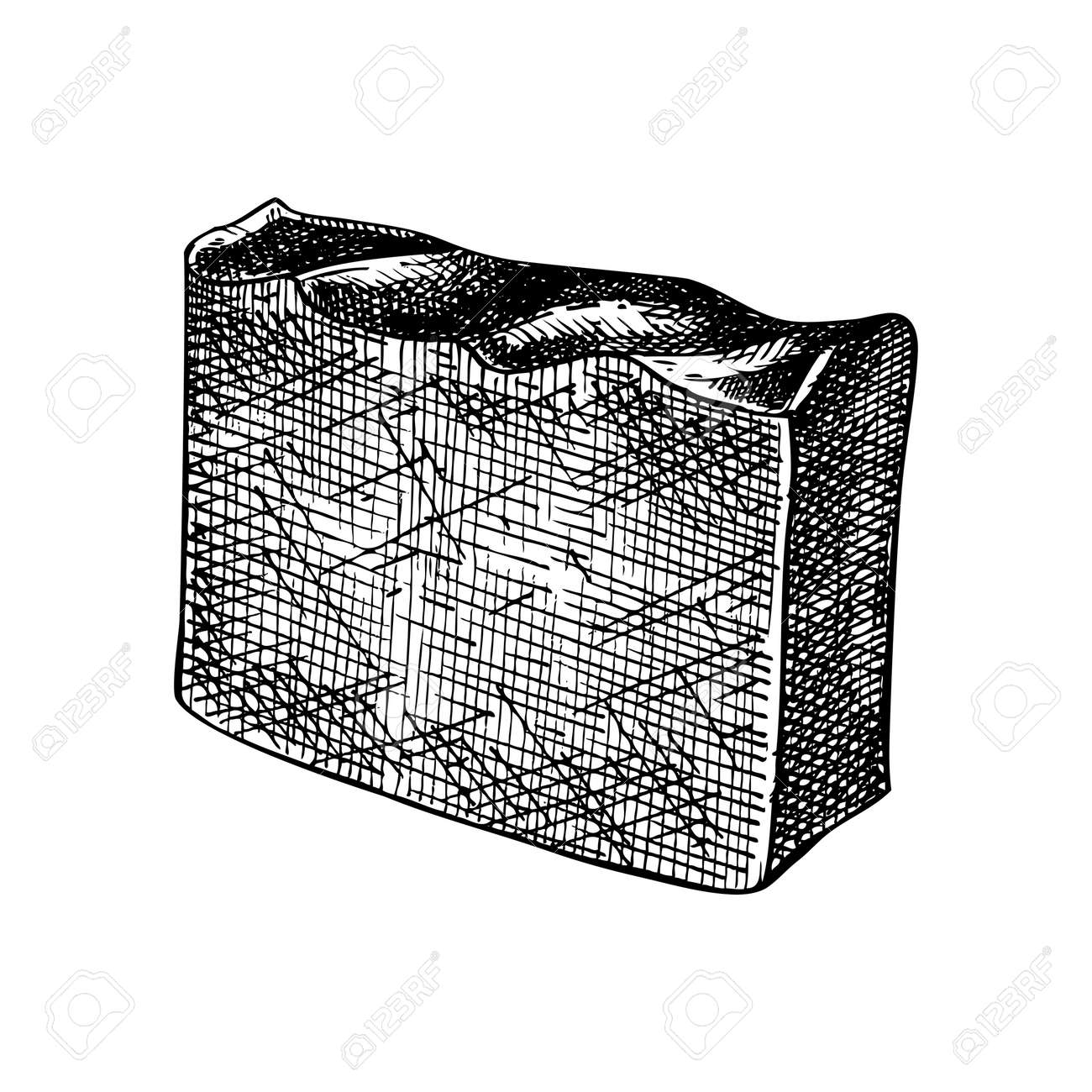 Hand-sketched chocolate soap illustration. Vector drawing of hand drawn soap bar. For a beauty salon identity, bathroom or spa. Vintage cosmetics and perfumery design elements - 170065747