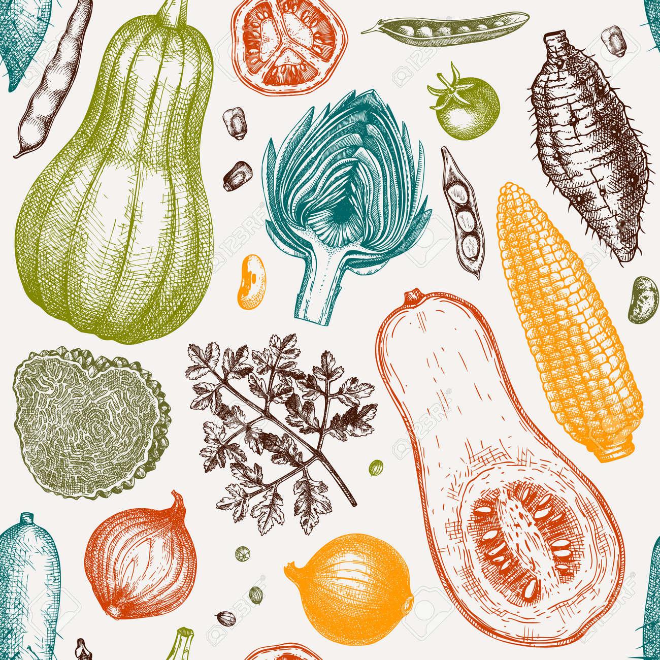 Seasonal vegetables seamless pattern. Harvest festival vector background. Hand sketched herbs, vegetables, mushrooms illustration. Health food ingredients backdrop - 170259579