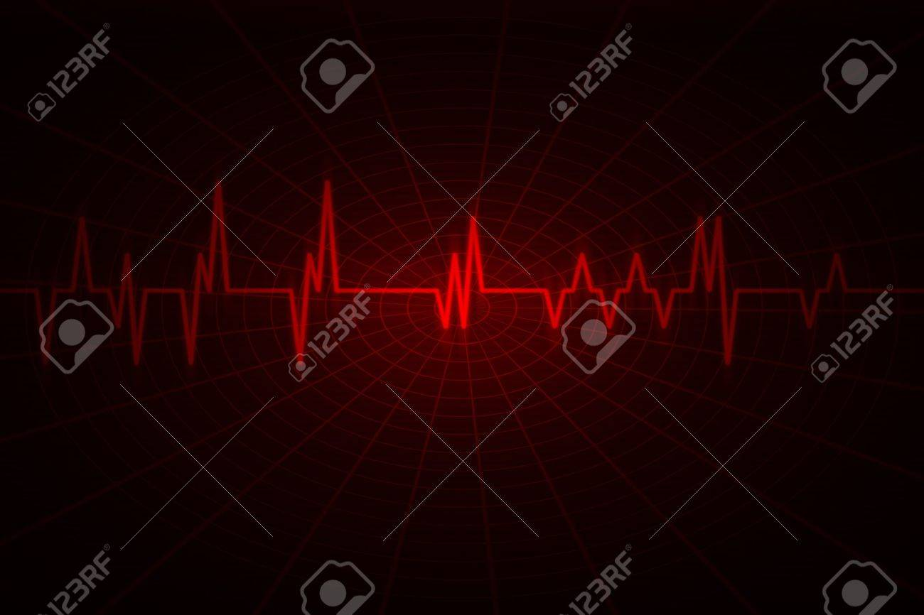 red wave inspired by audio or pulse monitor. Image includes large dark copy space. Stock Photo - 9476458