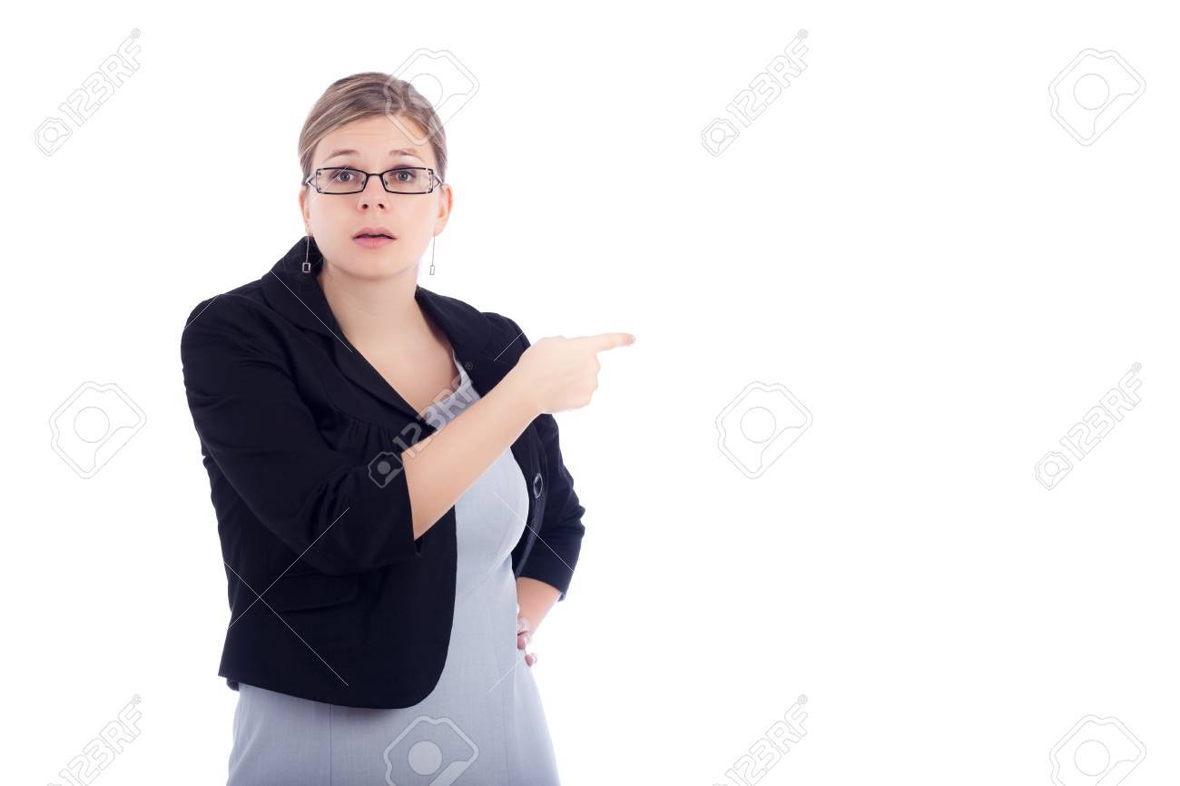 Angry young business woman blaming, isolated on white background. Stock Photo - 11932110