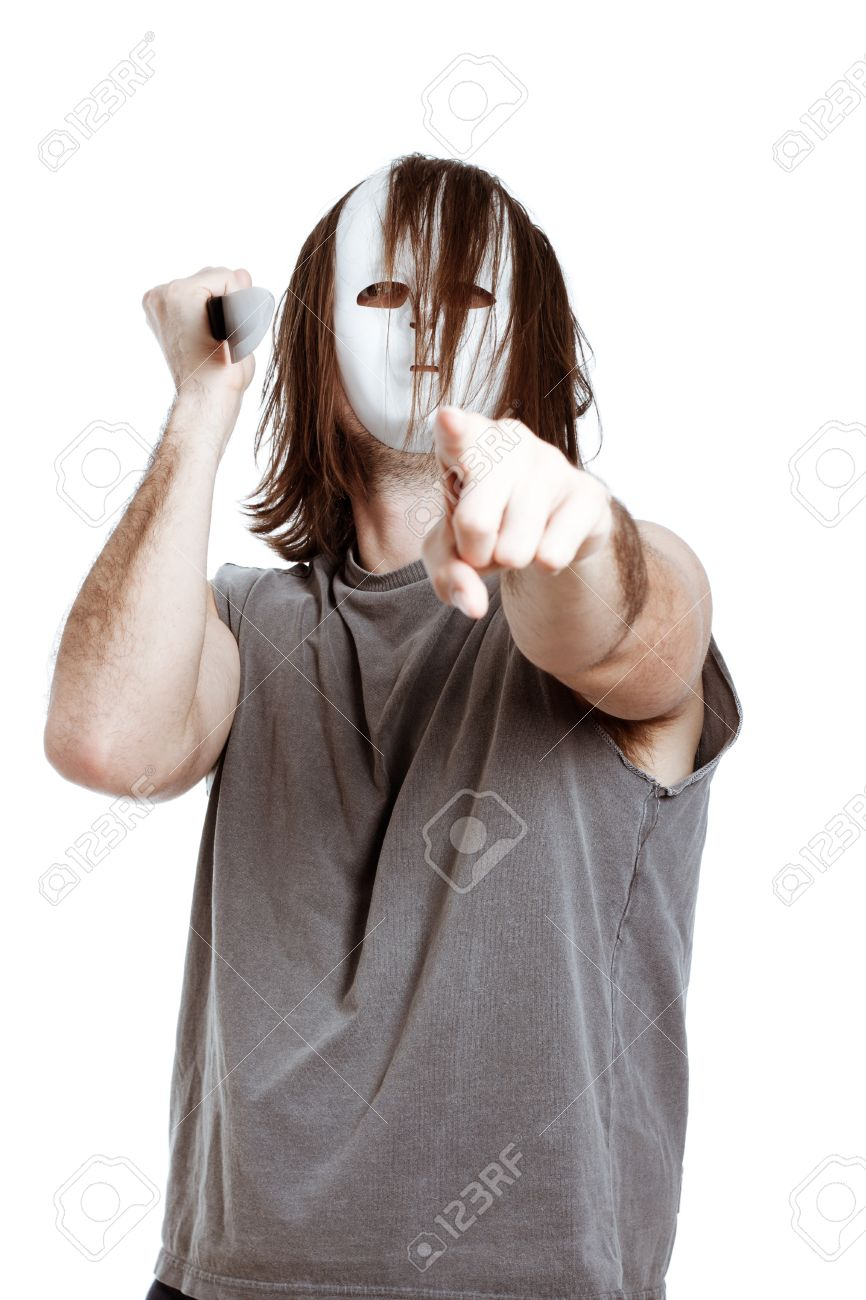 Scary killer horror man with knife, pointing at you, isolated on white background. Stock Photo - 13584775