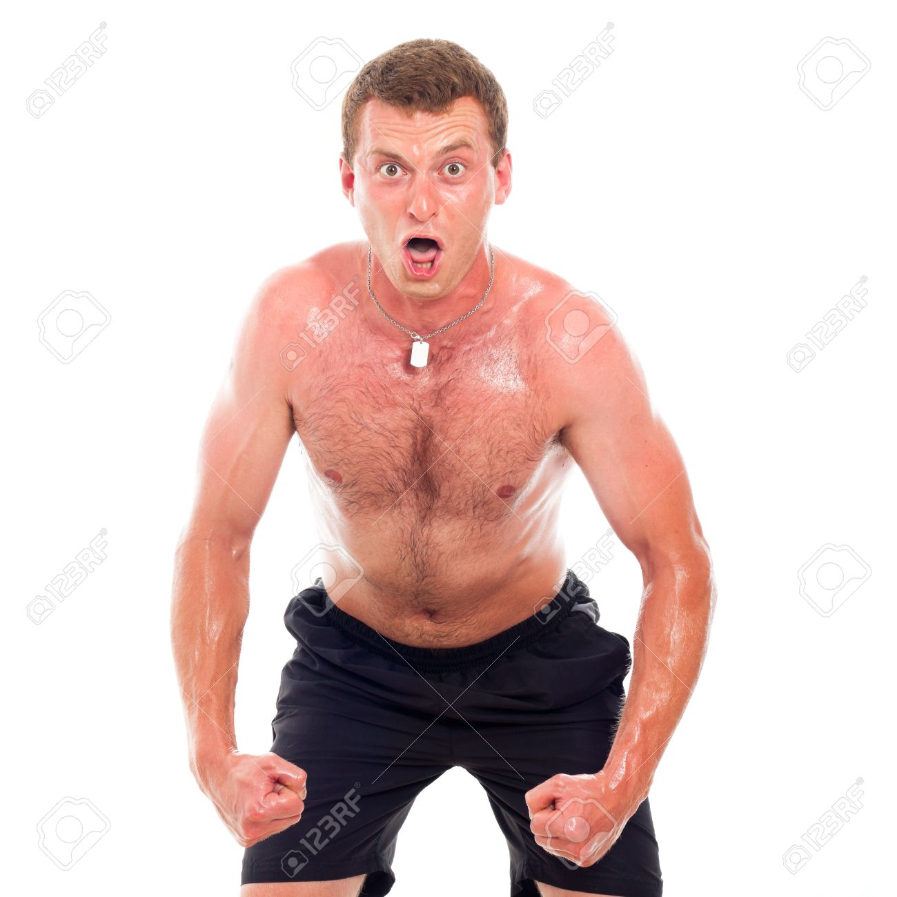 Funny young muscular sports man, isolated on white background. Stock Photo - 14779651