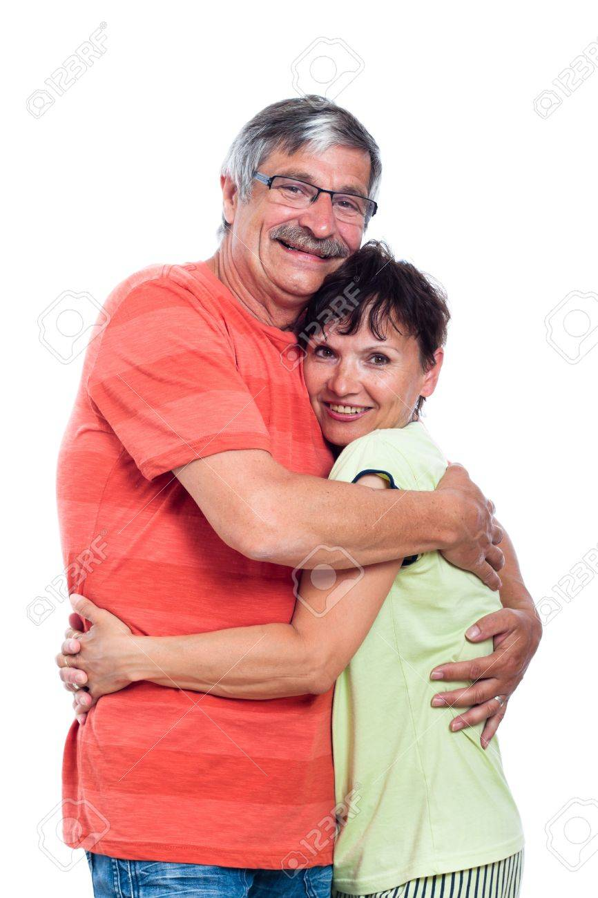 Portrait of happy middle aged couple in love, isolated on white background. - 15152739
