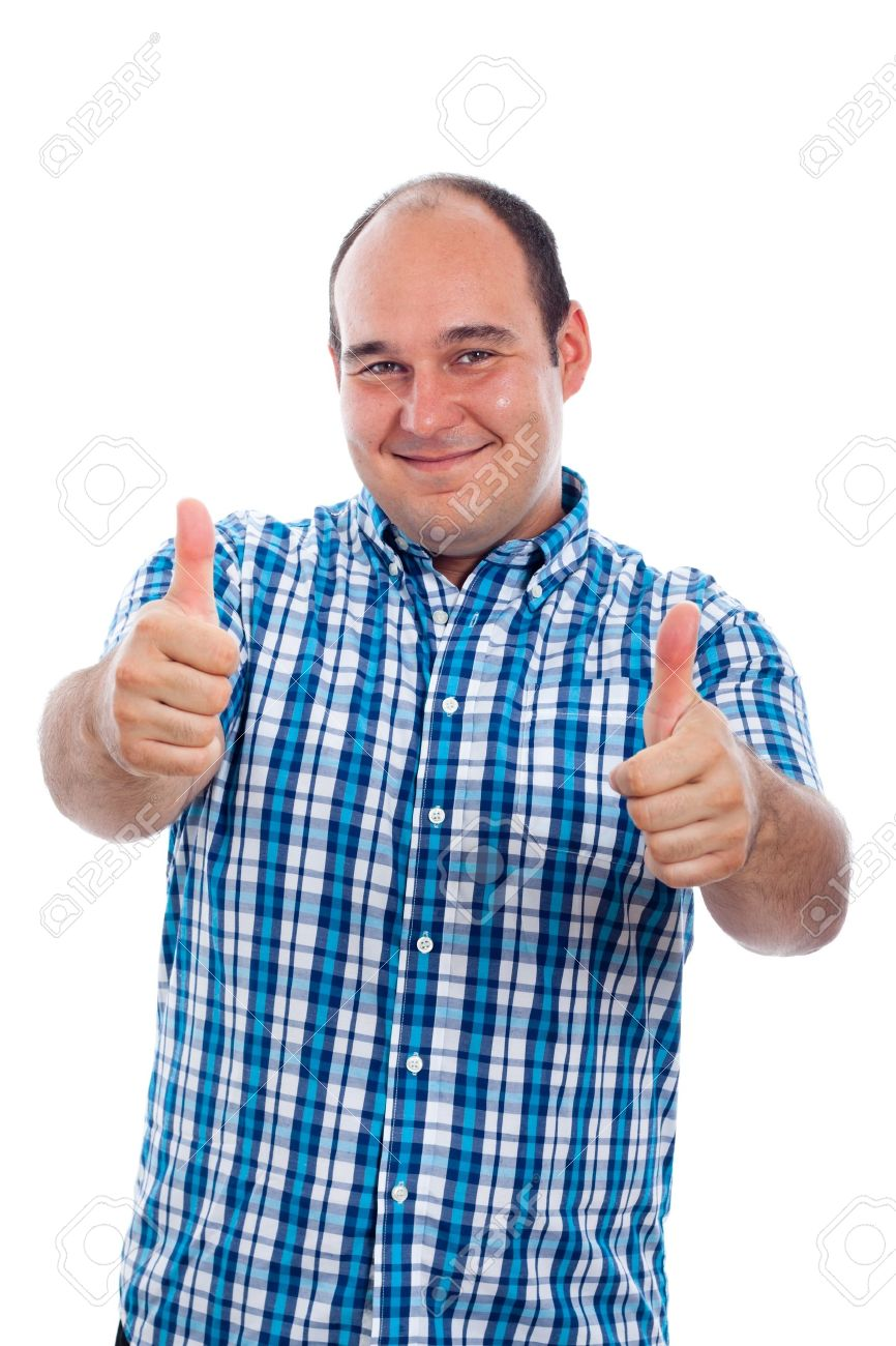 Happy smiling man gesturing thumbs up, isolated on white background. Stock Photo - 15152741