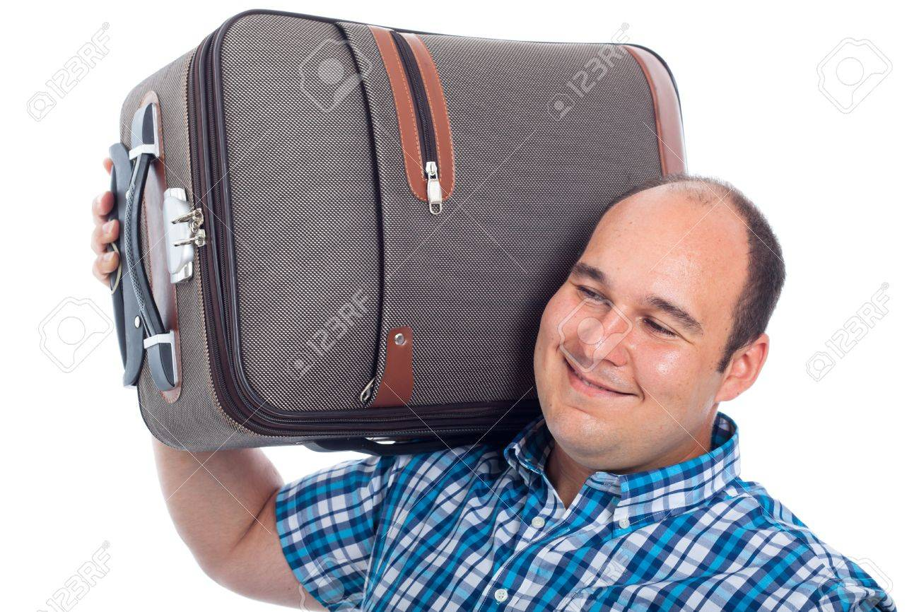 Happy passenger man carrying luggage, isolated on white background. Stock Photo - 15152770