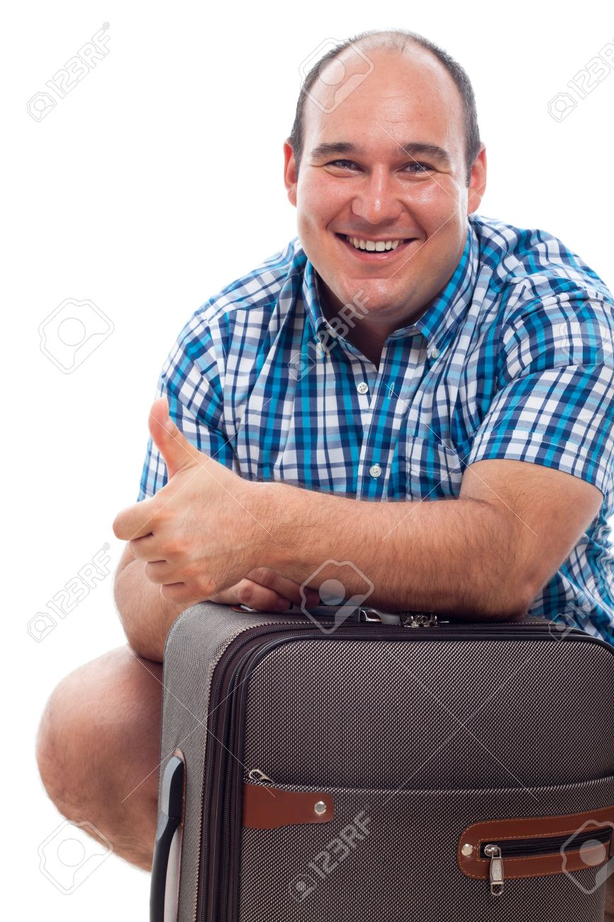 Happy smiling traveller tourist man with luggage, isolated on white background. - 15152768