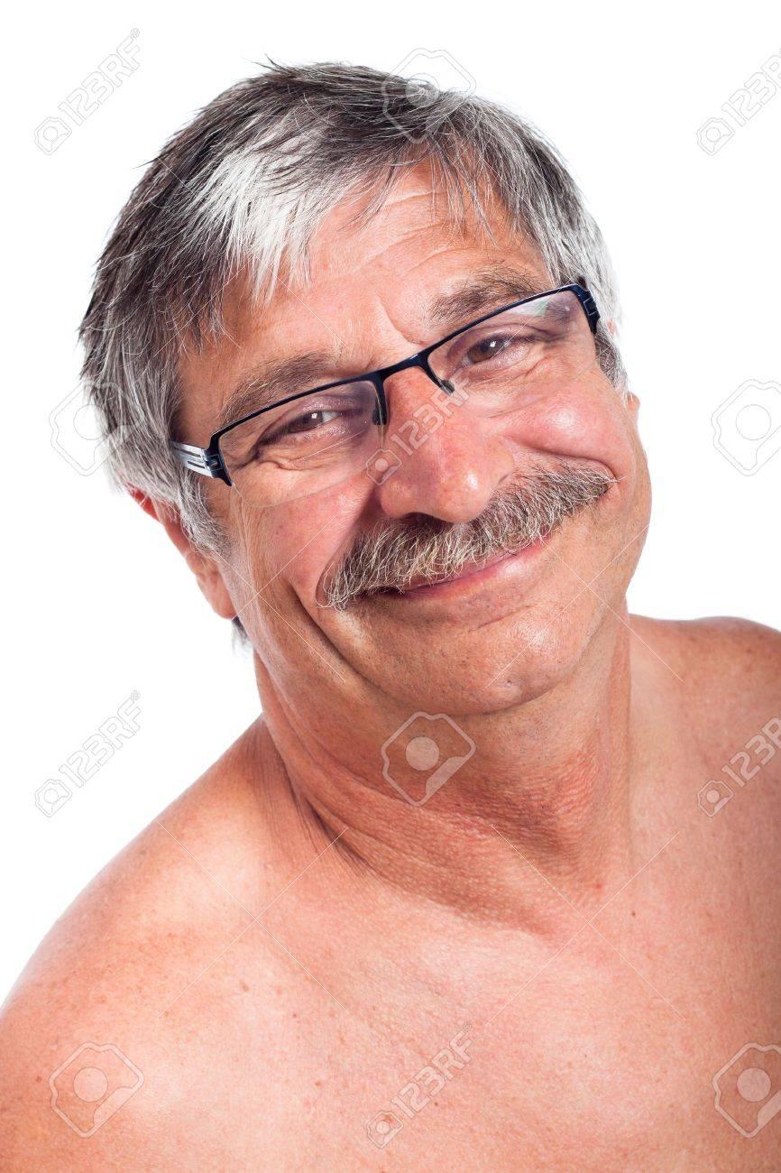 Close up of happy smiling senior man, isolated on white background. - 15288421