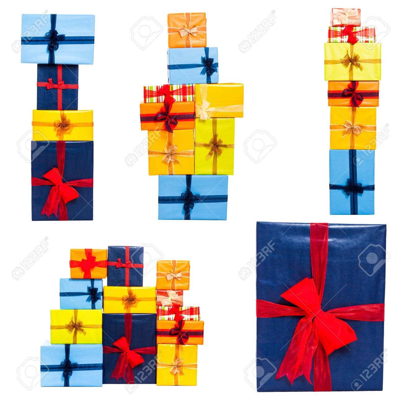Collection of many colorful gift boxes with ribbon, isolated on white background. - 16025872