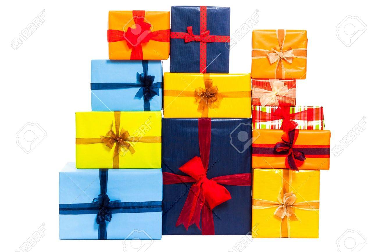 Colorful gift boxes with ribbon, isolated on white background - 16197266