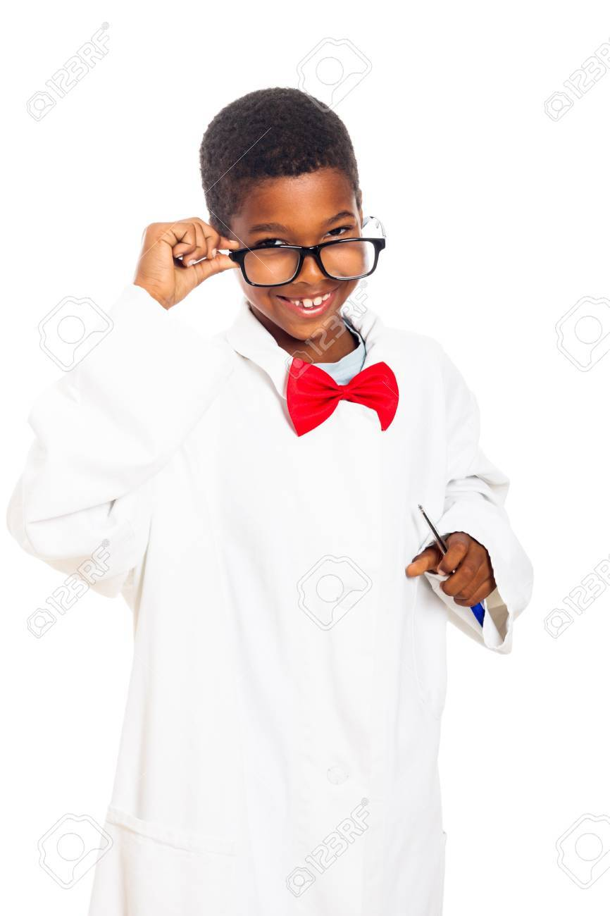Cute happy clever scientist school boy, isolated on white background. - 16250136