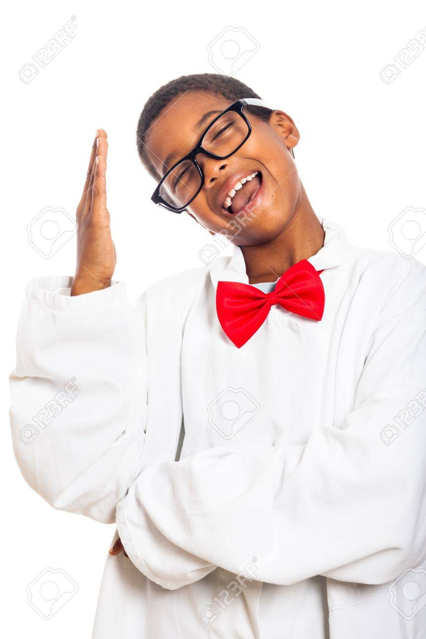 Funny clever scientist school boy gesturing, isolated on white background. Stock Photo - 16250137