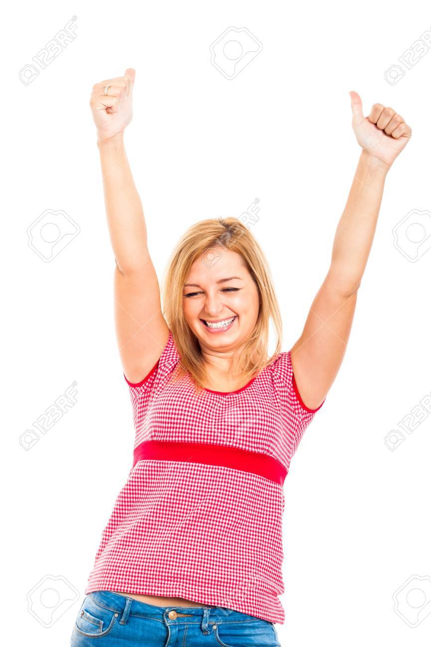 Young ecstatic happy woman gesturing thumbs up, isolated on white background. Stock Photo - 16522471