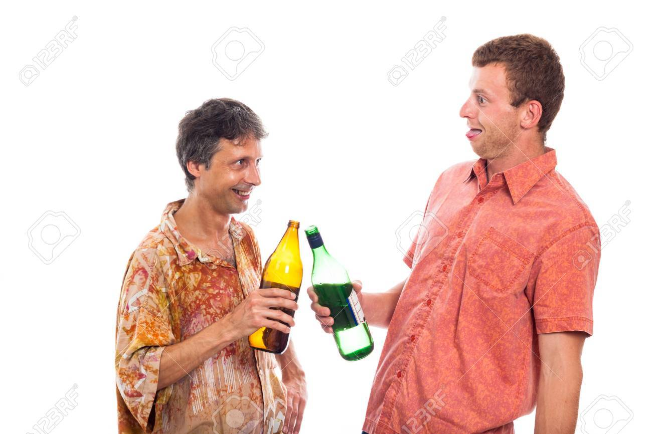 Two funny drunken laughing men with bottle of alcohol, isolated on white background. Stock Photo - 17133750