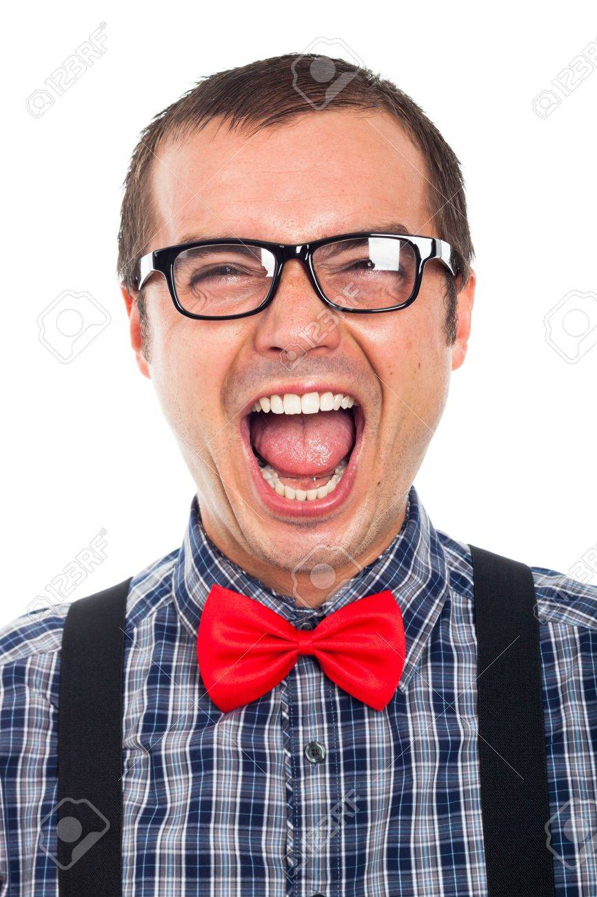 Close up of crazy funny nerd man laughing, isolated on white background. - 17133783