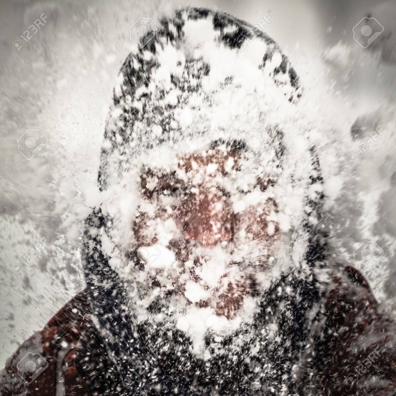 Silhouette of a man in heavy snow storm. - 17527521
