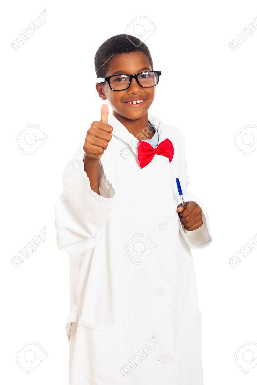 Happy clever school boy in scientist lab coat giving thumb up, isolated on white background. Stock Photo - 17546689
