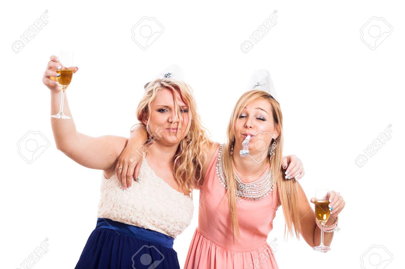 drunk girls 2 つの飲酒ガールズ ソウジュツ白い背景の上を祝う 写真素材 - 19693151