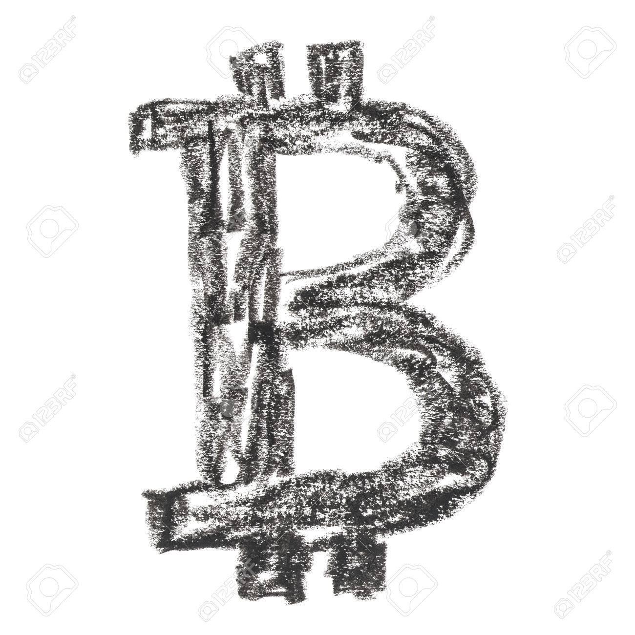 Símbolo Negro Bitcoin Dibujo Hecho A Mano De Una Moneda Cripto Descentralizada Digital Letra B Sobre Fondo Blanco
