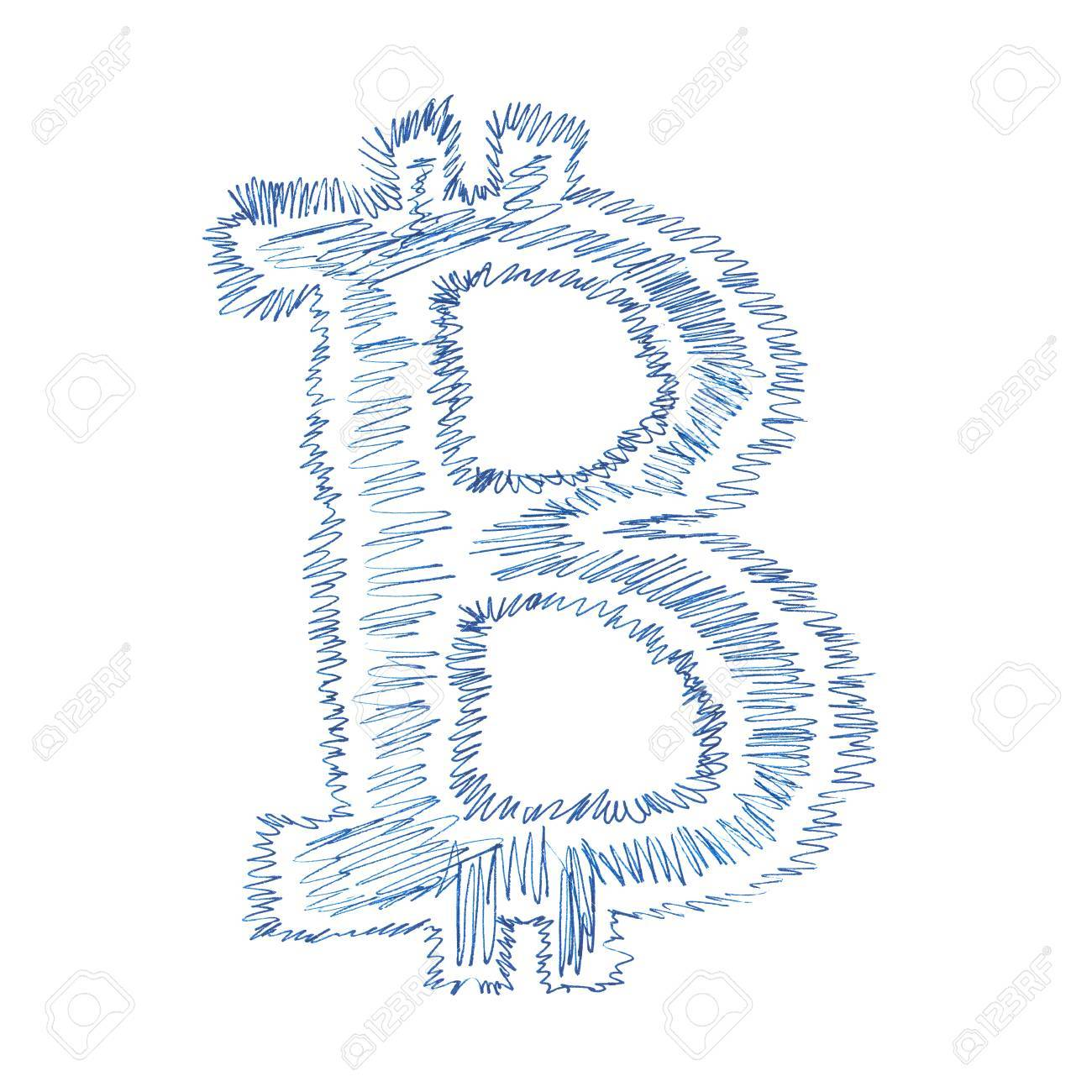 Simple Bitcoin Hand Drawn Symbol Of A Digital Decentralized Crypto