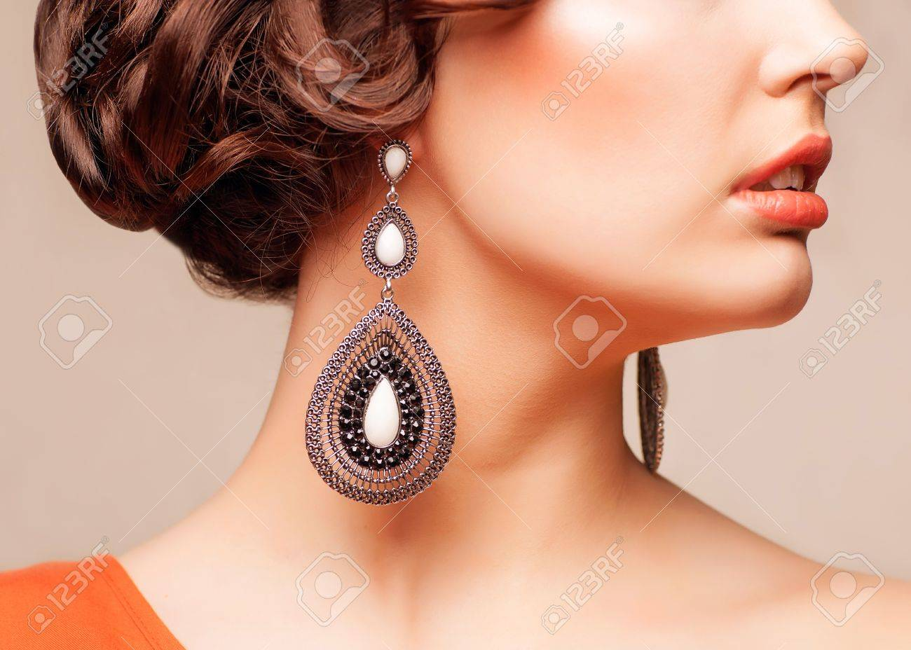 closeup body part portrait of young beautiful woman in jewellery Stock Photo - 18577563