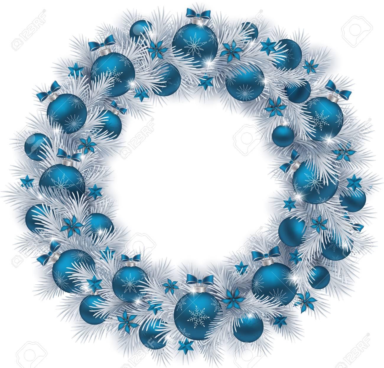 Silver Christmas Wreath.Christmas Wreath With Silver Colour Fir Branches Blue Balls