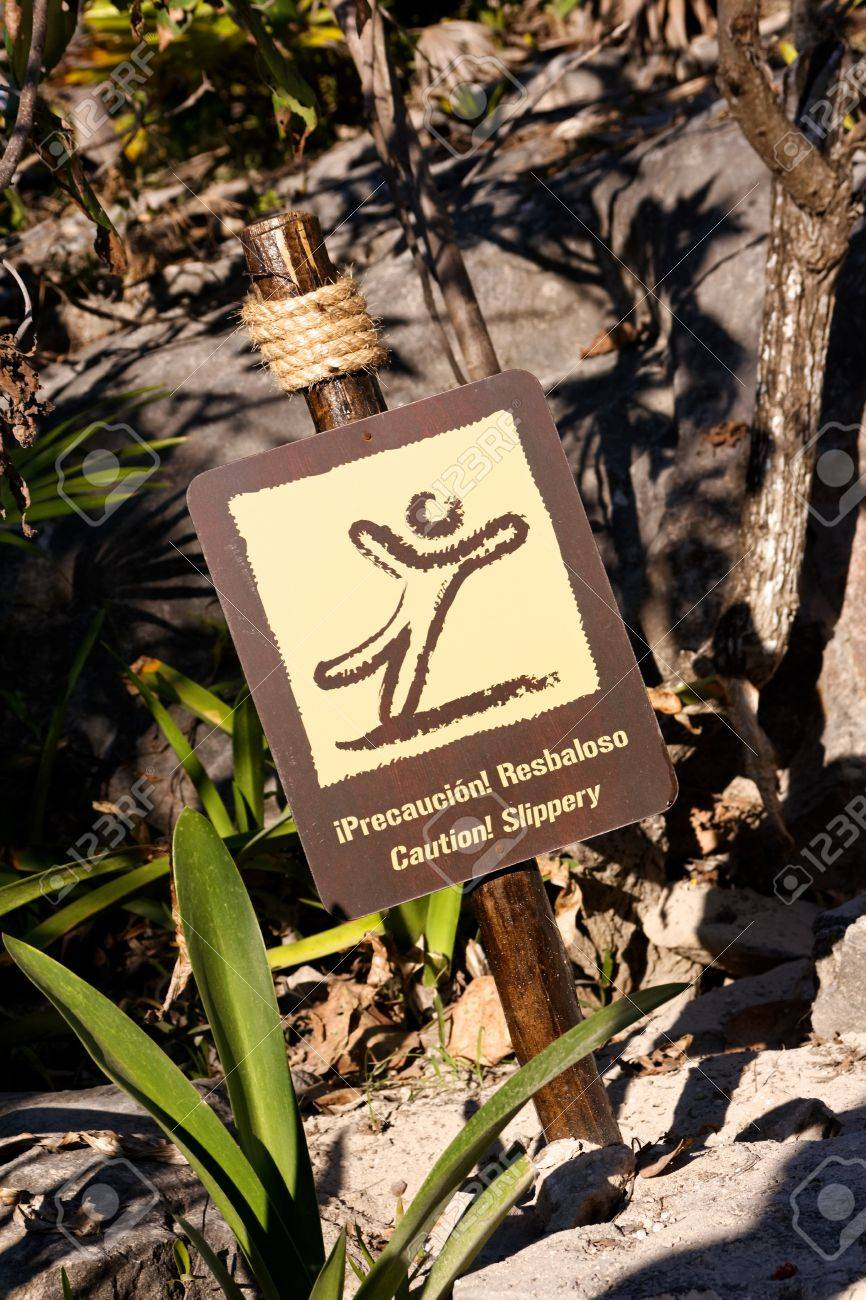 Dual language sign in tropical surroundings warning of slippery ground. Stock Photo - 12987462