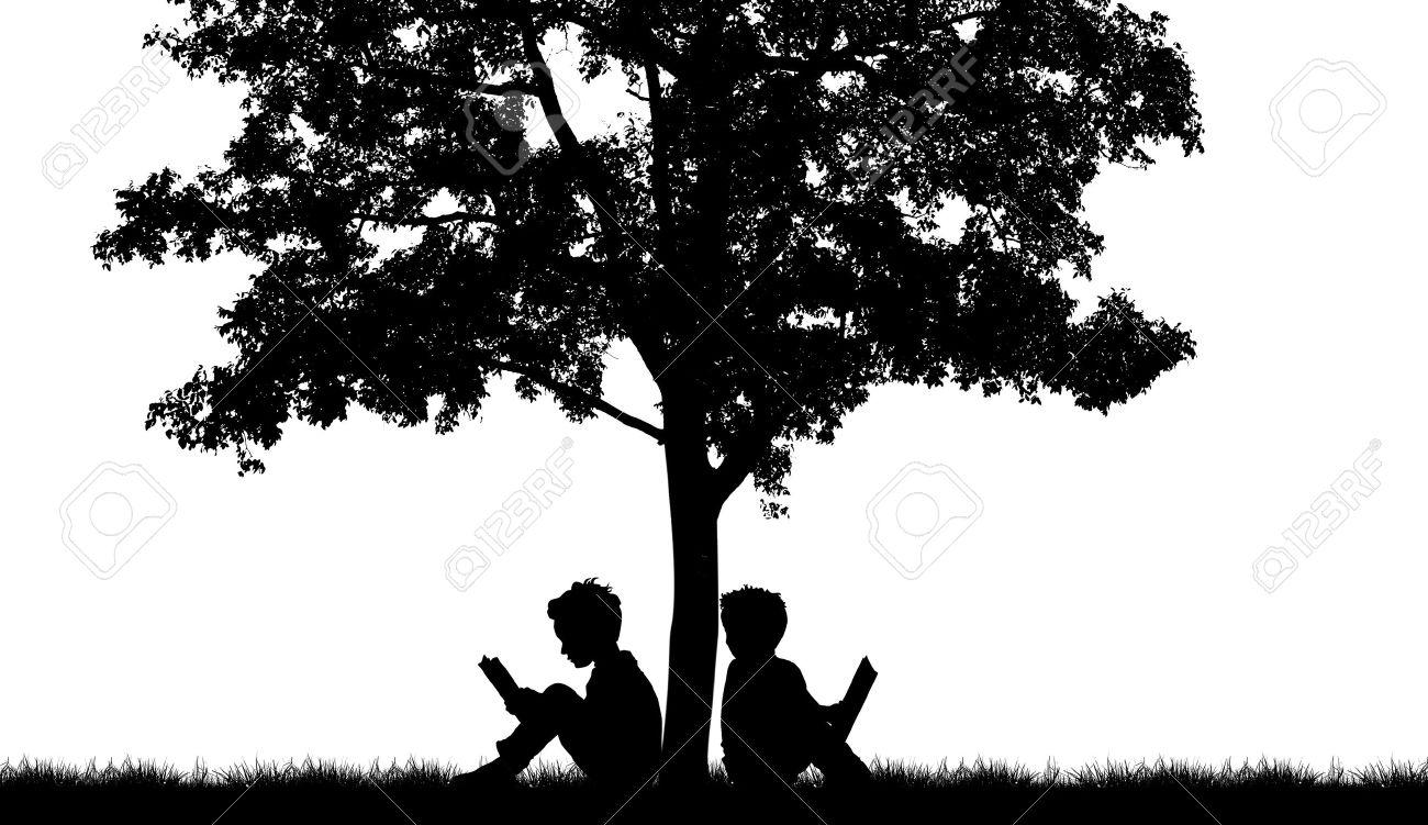 Silhouettes of children read Children Reading Silhouette