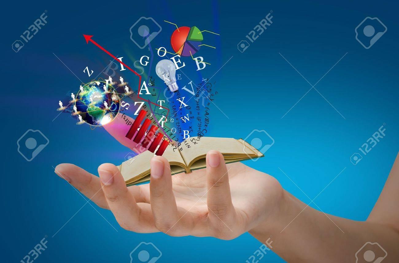 Magic book on hand Stock Photo - 12343774