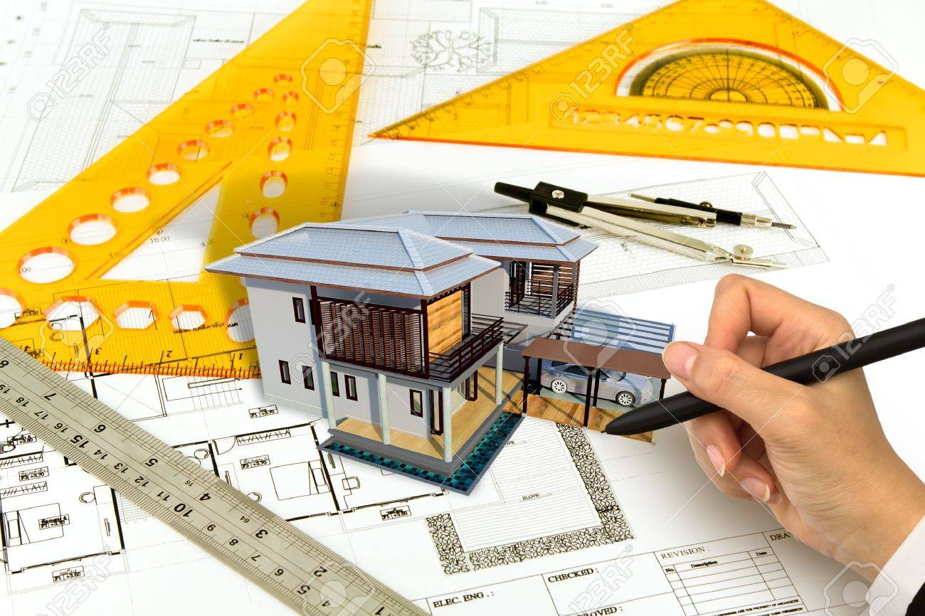 Hand draw Blueprint of a house Stock Photo - 13632090