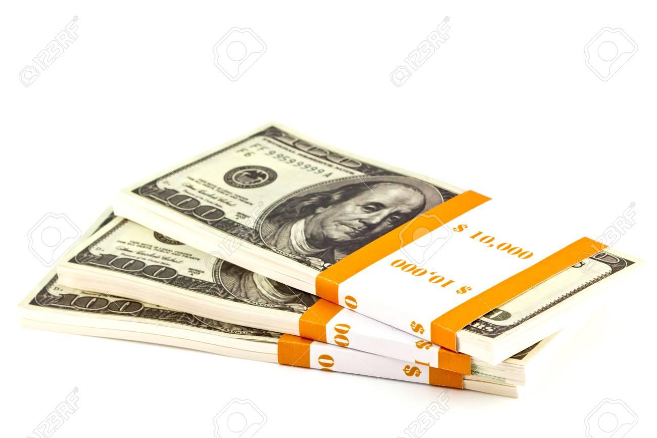 Ten thousand dollar stacks on the white Stock Photo - 13628761