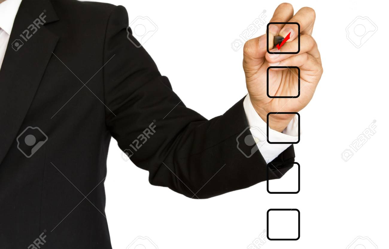 Business Hand choosing one of many options Stock Photo - 13625986