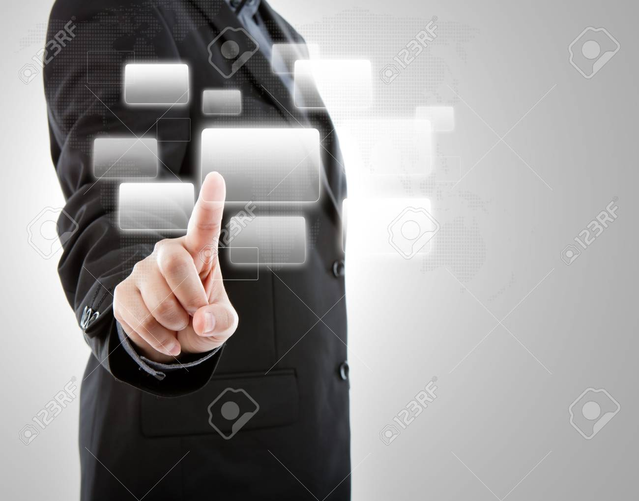 Business man pushing a button on a touch screen interface Stock Photo - 13850747