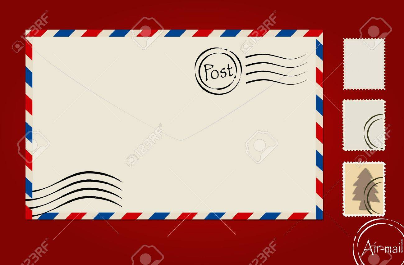 envelope stamp set and postcard royalty free cliparts vectors