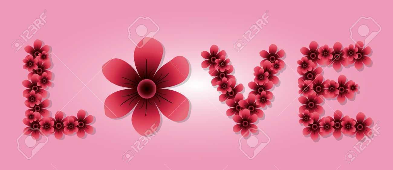 The Word Love Spelled With Pink Flowers For Valentines Day Royalty