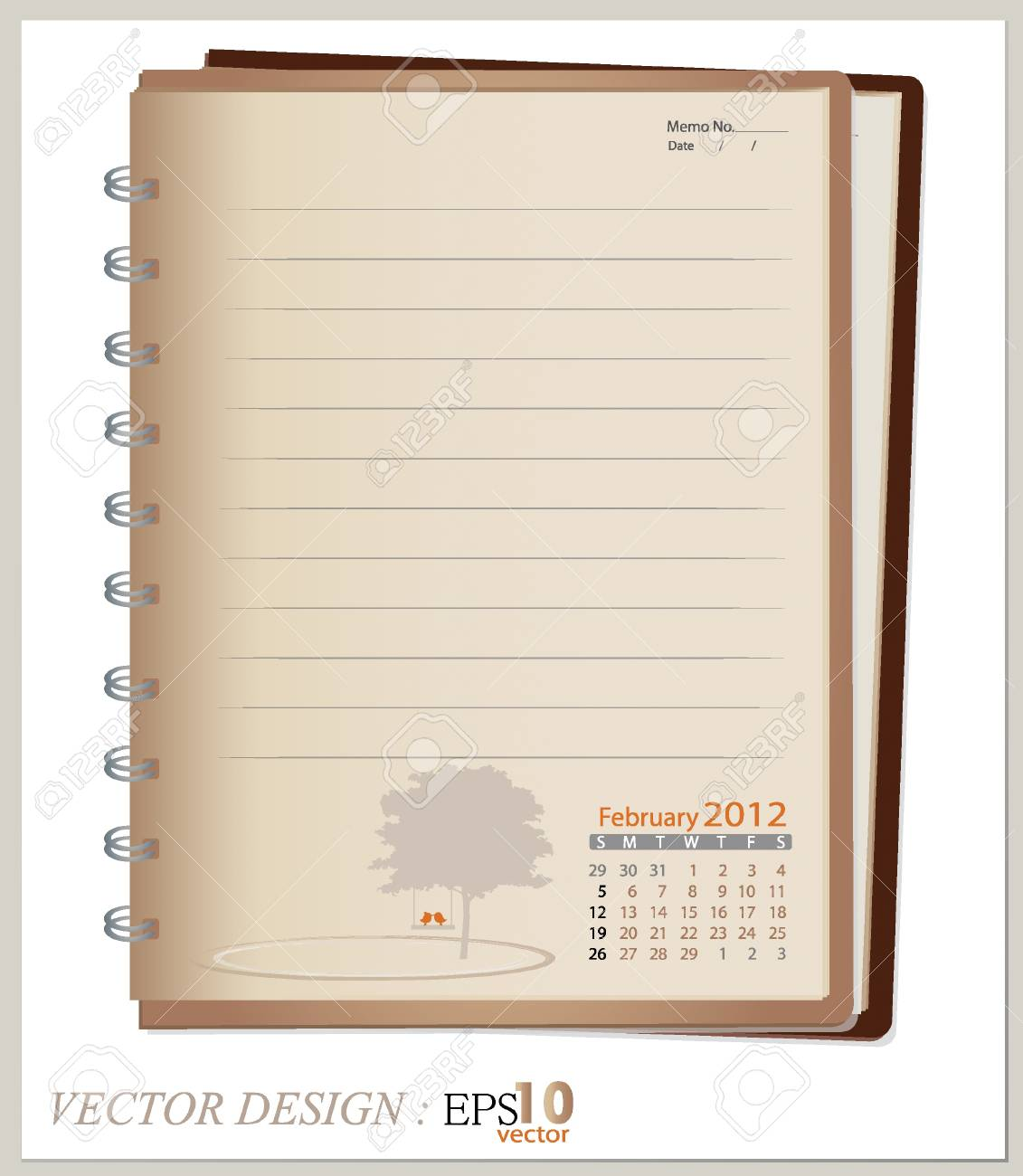 Simple 2012 calendar notebook, February. All elements are layered separately. Easy editable. Stock Vector - 14178220