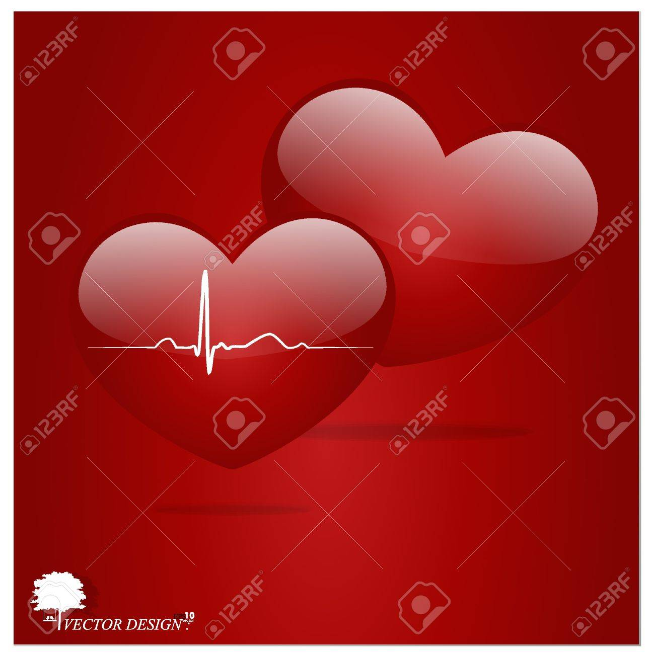 Heart with EKG signal. Valentine's Day. Stock Vector - 14178751