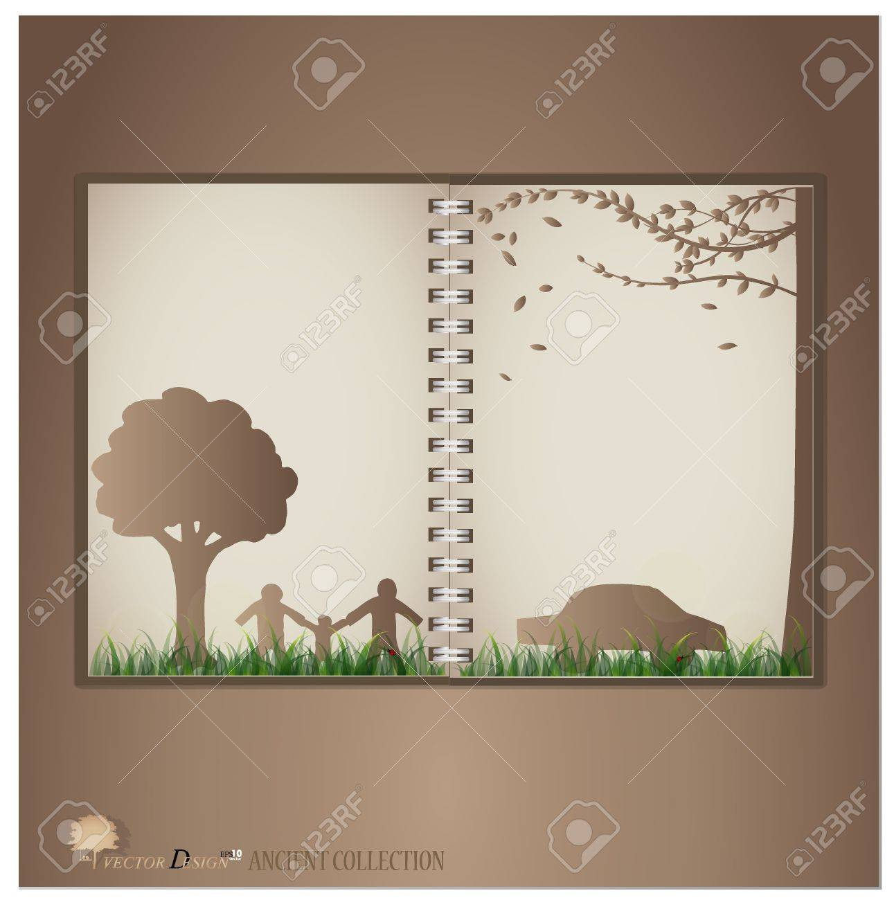 Vintage Notebook Designs Tree House And Family Vector Illustration Royalty Free Cliparts Vectors And Stock Illustration Image 14238318